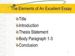 essays dr karen petit essay components  an introduction  a   the elements of an excellent essay title introduction thesis statement body paragraph