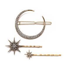 2019 <b>Fashion Geometric</b> Star <b>Moon</b> Rhinestone Hair Clip Hairpin ...
