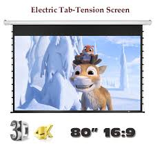 Luxury 4K 3D Electric Tab <b>Tension</b> Screen 80 inch 16:9 for Home ...