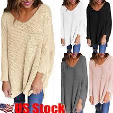 <b>USA Women V-Neck</b> Knitted Sweater Oversize Long Sleeve Loose ...