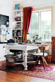 home office one wide table with shelves along the wall for our stuff chic office ideas 1000