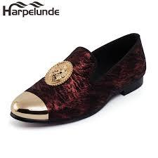 <b>Harpelunde</b> Animal Buckle <b>Men</b> Dress Loafers Printed Velvet Flat ...