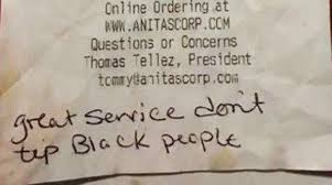 servers service assistants red lobster com waitress receives note instead of tip great service don t tip black people