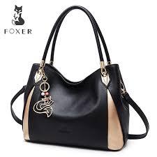 <b>FOXER Brand</b> Soft <b>Women Genuine</b> Leather Shoulder Bag Solid ...