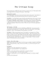 essay critique examples template essay critique examples
