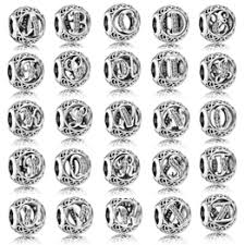 1pcs European Style Big Hole Charm Beads 26 Letters Silver ... - Vova