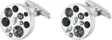 <b>Запонки PURE ELEMENTS</b>, круглые с черными кристаллами арт ...