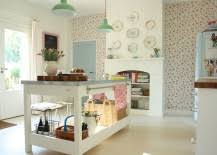 wallpaper brings a vintage charm to the cool shabby chic kitchen in white from charming shabby chic kitchen