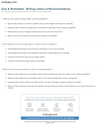 quiz worksheet writing letters of recommendation study com print how to write a letter of recommendation worksheet