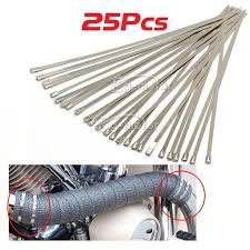 25Pcs Stainless <b>Steel</b> Zip Ties Straps Fits Motor | moto cycle ...