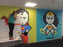 office wall post it art superheroes ben brucker art for office walls