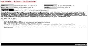 Principal Mechanical Engineer Cover Letter And Resume Sample