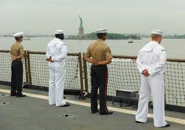 u s department of defense photo essay sailors stand at attention on the flight deck of the harpers ferry class dock landing