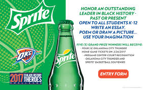 thunder black history heroes challenge presented by sprite honor an outstanding leader in black history past or present use your imagination to write an original essay or poem or draw a picture
