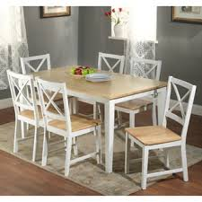 seven piece dining set: simple living crossback white natural  piece dining set