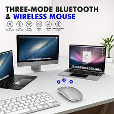 <b>Bluetooth Mouse</b>, <b>Inphic</b> Tri-Mode Slim Silent Rechargeable ...