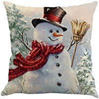 Metyou <b>4pcs Happy Christmas</b> Pillow Cover Decorative Cotton ...