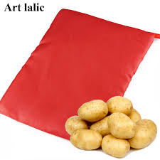 <b>1PC</b> Red Washable Cooker <b>Bag Baked Potato Microwave</b> Cooking ...