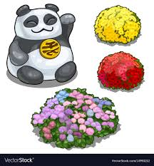 <b>Panda</b> with <b>hieroglyph</b> feng shui and flower beds Vector Image