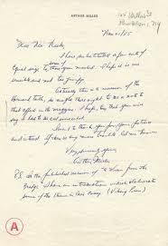 autograph handwritten letter by playwright arthur autograph 1112013 handwritten letter by playwright arthur miller 11 21 1955