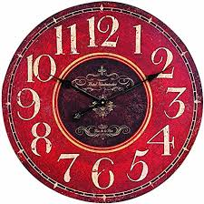 Creative Co-op Wooden Wall Clock, Red: Home ... - Amazon.com