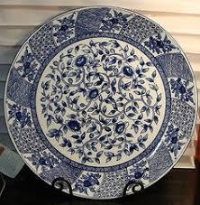 "Imari Style <b>Hand Painted Porcelain</b> Charger Plate 16"" <b>Huge Blue</b> ..."