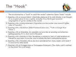 """examples of hooks for persuasive essaysthe hook""""  the introduction"""