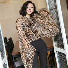 2019 <b>Luoanyfash Leopard Shirt Female</b> Chiffon Lace Up Bow ...