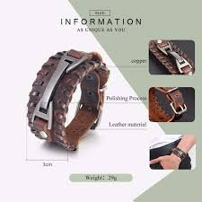 BAMOER <b>Vintage Punk Leather Bracelet</b> 2 Color Black & Brown ...