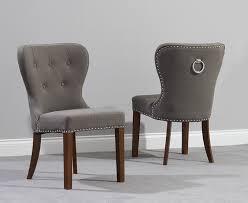 kalim dark wood grey dining chair pairs baumhaus mobel oak upholstered dining chair pair