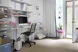 home office with modular desk and shelves chic home office features