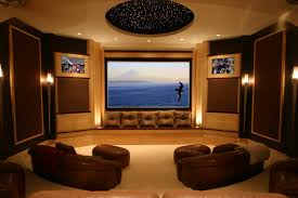themed family rooms interior home theater: home theaters  media room decorating idea applying wall sconces lightings furnished with brown loveseats