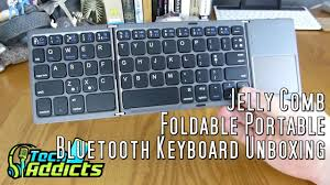 Jelly Comb <b>Foldable Portable</b> Bluetooth Keyboard Unboxing ...