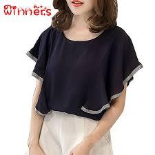 Women <b>Ruffles Chiffon Top Butterfly</b> Sleeve Blouse Top M-4XL ...