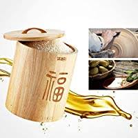 Food <b>Storage</b> Jars Canisters Solid Wood <b>Rice</b> Barrel Sealed With ...