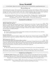 resume objective examples machine operator machine    machine operator resume sample equipment usage history