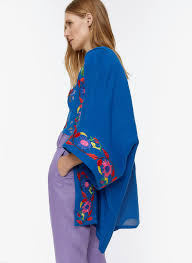 <b>Poncho</b>-<b>style</b> kaftan with floral embroidery - View all - New In ...
