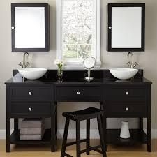 simple wooden stool completing black bathroom vanity decorated with chic glass vase between bowl sink captivating bathroom vanity twin sink enlightened