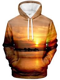 <b>Men's Hoodie</b> Creative <b>3D</b> Beach Sunset Print Hooded <b>Sweatshirt</b> ...