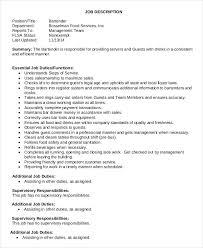 sample waiter bartender job description waiter job description