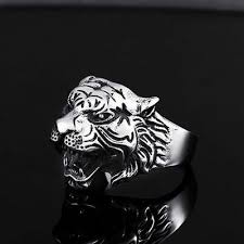 New Fashion Men's <b>Stainless Steel</b> Punk Tiger Crystal Biker Ring ...