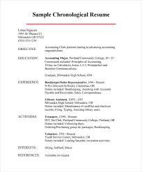 sample chronological resume format of chronological resume