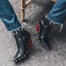 Baimier <b>Luxury Brand Genuine Leather</b> Women Boots Fashion Rivet ...