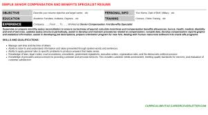 Benefits Specialist Resume Samples Plus Write A Responsibilities And  Objectives oyulaw