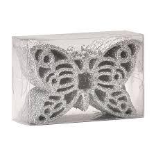 Набор пластиковаяовых подвесок <b>Бабочка 12 шт</b> х 10 см серебро