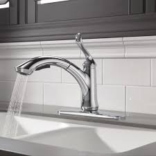 minimalist kitchen white faucet presence delta linden single handle centerset pull out bar kitchen faucet