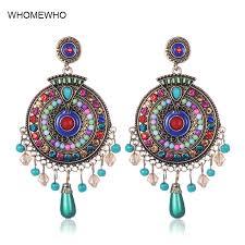 <b>Vintage</b> Boho Statement Seed Beads <b>Indian</b> Drop Earrings Ethnic ...