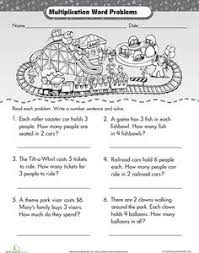 Multiplication, Word problems and Worksheets on PinterestWorksheets: Intro to Multiplication: Roller Coaster Word Problems