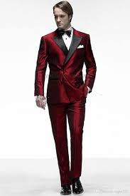 Latest Fashionable <b>Groom Tuxedos Groomsmen Dark</b> Red Peak ...