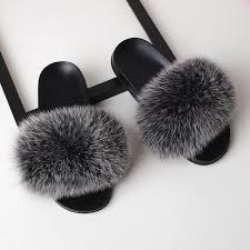 SARSALLYA <b>Fur Slippers Women</b> Real Fox <b>Fur</b> Slides Home <b>Furry</b> ...